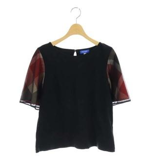 ブルーレーベルクレストブリッジ Tシャツ カットソー 袖切替 チェック 38 黒(カットソー(半袖/袖なし))