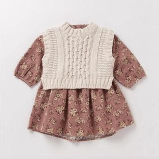 petit main - 【新品】プティマイン  ベスト付き花柄ワンピース