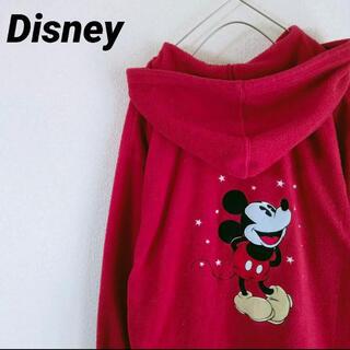 ミッキーマウス(ミッキーマウス)のミッキー フリースジップアップパーカー ミッキー刺繍 L size メンズ(パーカー)