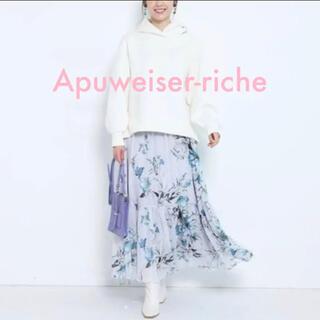 Apuweiser-riche - 美品 Apuweiser-riche 大花プリントスカート 0 ブルー