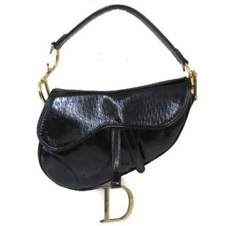 Christian Dior - クリスチャンディオール サドルバッグ エナメル ロゴ金具 イタリア製 ブラック