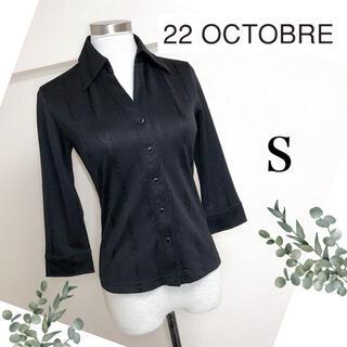 ヴァンドゥーオクトーブル(22 OCTOBRE)の22オクトーブル(S)黒ブラックの美シルエットスキッパーシャツ (シャツ/ブラウス(長袖/七分))