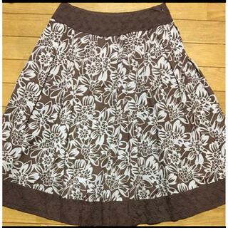 ローラアシュレイ(LAURA ASHLEY)のローラアシュレイ スカート3 ブラウン花柄(ひざ丈スカート)