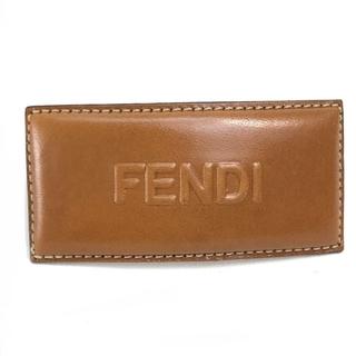 FENDI - フェンディ ステッチ ロゴ ヘアアクセサリー スクエア バレッタ ブラウン