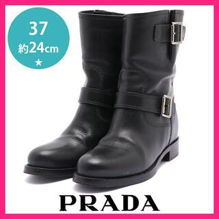 プラダ(PRADA)のプラダ 二連ベルト ショートブーツ エンジニアブーツ 37(約24cm)(ブーツ)