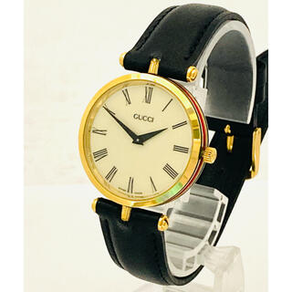 Gucci - 美品! GUCCI グッチ シェリーライン 電池&ベルト新品交換済みメンズ腕時計