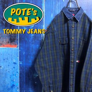TOMMY HILFIGER - 【トミージーンズ】フラッグ刺繍ロゴデニム襟切替チェック柄デニムシャツ 90s