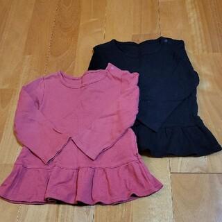 ユニクロ(UNIQLO)の裾フリルカットソー 2枚セット ピンク ブラック(シャツ/カットソー)