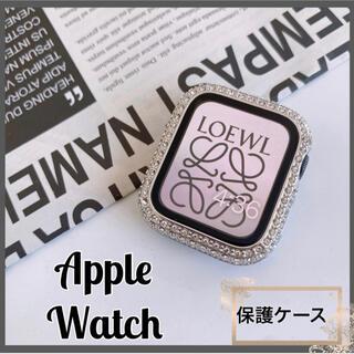AppleWatch アップルウォッチカバー 保護ケース シルバー ジェムケース(モバイルケース/カバー)