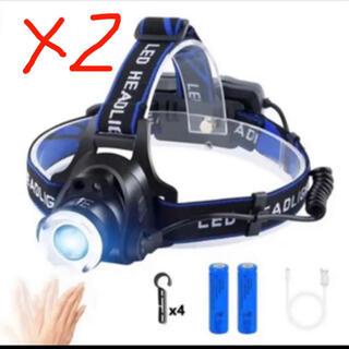 LEDヘッドライト usb充電式 アウトドア用ヘッドライト2個セット(ライト/ランタン)