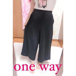 ワンウェイ(one*way)の4091.one way 七分丈 ブラック たてじま ワイドパンツ(カジュアルパンツ)