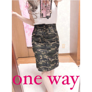 ワンウェイ(one*way)の4093.one way 迷彩 ハイウエスト 膝丈 タイトスカート(ひざ丈スカート)
