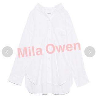 ミラオーウェン(Mila Owen)のミラオーウェン 隠し釦ダウンベーシックシャツホワイトビジネス白シャツ(シャツ/ブラウス(長袖/七分))