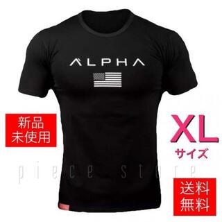 Tシャツ メンズジム筋トレフィットネススポーツウェアXL 黒ブラック