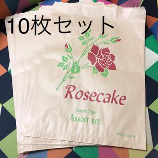 マルシェ袋 バラ柄 10枚セット 紙袋 梱包袋 クラフト袋