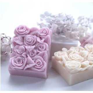 0328 シリコンモール バラ型 石鹸 アロマストーン ソープ キャンドル型(型紙/パターン)