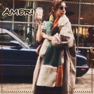 アメリヴィンテージ(Ameri VINTAGE)のAMERI アメリ ブロック ファー ストール エコファー フェイクファー 茶系(ストール/パシュミナ)
