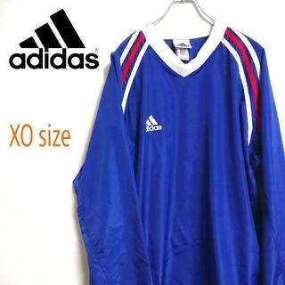 アディダス(adidas)の90s adidas アディダス 青色 ゲームシャツ ナイロンジャケット XL(ナイロンジャケット)