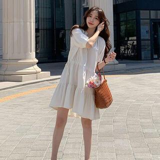ディーホリック(dholic)の韓国風襟付きティアードワンピース(ミニワンピース)