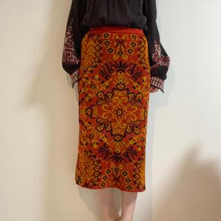 mame - TAN  柄 スカート オレンジ ロング タン エスニック
