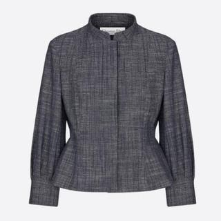 クリスチャンディオール(Christian Dior)の新品 DIOR 七分袖 ジャケット ブルーグレー 38(ノーカラージャケット)