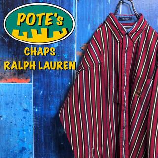 Ralph Lauren - 【チャップスラルフローレン】畝入りポケット刺繍ロゴマルチストライプシャツ 90s