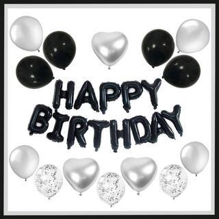 ブラック 風船 パーティー バルーン 誕生日 お祝い 28点セット(ウェルカムボード)
