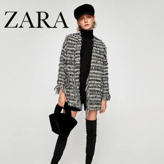 ZARA - ZARA 新品 タグ付 ツイードフリンジ ノーカラー カーデ ジャケットXS