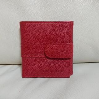 ロンシャン(LONGCHAMP)の極上美品【LONGCHAMP ロンシャン】二つ折り財布 レザー レッド 赤(財布)