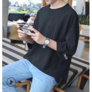 袖 ワンポイント オーバーサイズ メンズ Tシャツ 半袖 黒