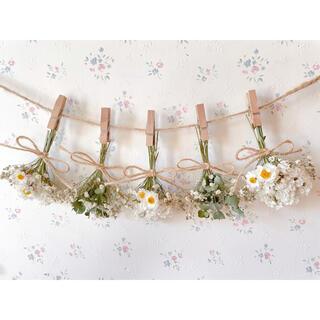 花かんざしとかすみ草のホワイトドライフラワーガーランド♡スワッグ♡ミニブーケ(ドライフラワー)