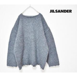 Jil Sander - JIL SANDER ボートネック カットオフ 厚手ウールセーター ニット M