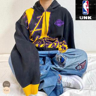 極上肉厚! UNK NBA レイカーズ フーディ パーカー 刺繍ロゴ ゆるだぼ