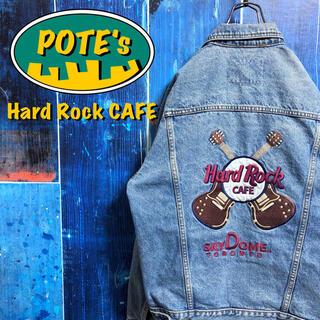 【ハードロックカフェ】ギターバック刺繍ビッグロゴデニムジャケット