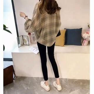 韓国 チェックシャツ ベージュ オーバーサイズ