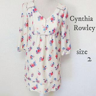 シンシアローリー(Cynthia Rowley)の【Cynthia Rowley】花柄 ワンピース 和風 七分袖 白 サイズ2(ひざ丈ワンピース)