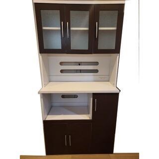 【直接引取のみ】食器棚 キッチンボード 幅90cmX縦180cm ダークブラウン