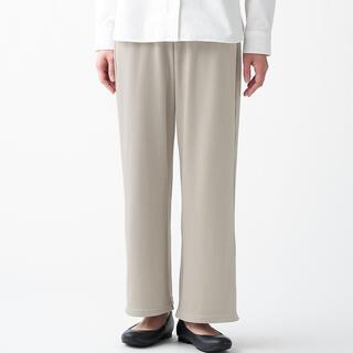 MUJI (無印良品) - インド綿混リブ編みワイドパンツ ペールブラウン M〜L