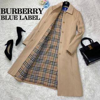バーバリーブルーレーベル(BURBERRY BLUE LABEL)の人気♡Lサイズ♡バーバリーブルーレーベル ノバチェック アンゴラ ロングコート(ロングコート)