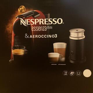 ネスレ(Nestle)の【未使用】ネスプレッソ エッセンサミニ 白◼️エアロチーノ 3(エスプレッソマシン)