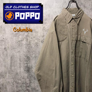 Columbia - コロンビア☆アニマルヘッドシカ柄刺繍ロゴプリーツポケット切替ハンティングシャツ