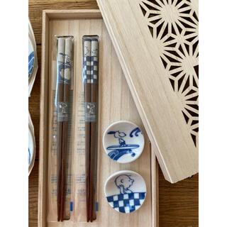 PEANUTS - ★新品未使用★スヌーピー箸とお皿5枚の食器セット