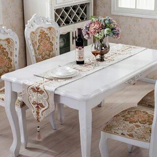 フランフラン(Francfranc)のテーブルランナー タッセル付き 北欧風 テーブルクロス 33 x 250cm (テーブル用品)