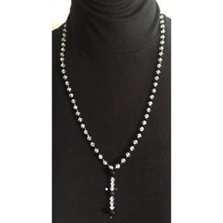 【お買得・貴重】レディース 天然 オニキス&クリスタル ネックレス(ネックレス)