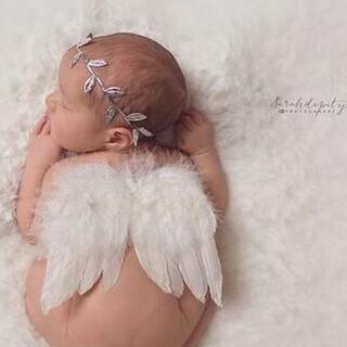 ベビー 天使変身セット 天使の羽 ホワイト リーフバンド 赤ちゃん 天使 羽 (その他)