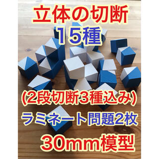 立体の切断模型15種(基本12種、重なった立方体3種)、ラミネート問題2枚付き
