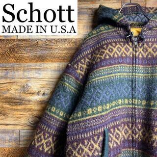 アメリカ製Schottショットニットジャケットジップアッップパーカーフーデイxl
