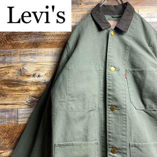 リーバイス(Levi's)のLevisリーバイスカバーオールワークジャケットメンズ古着lxlカーキグリーン緑(カバーオール)