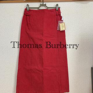 バーバリー(BURBERRY)の新品タグ付☆Thomas Burberry 巻きスカート【レッド】Mサイズ(ロングスカート)