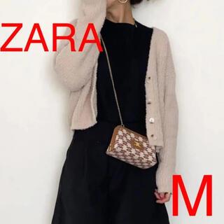 ザラ(ZARA)のZARA   フェイクファーニットカーディガン ベージュ M(カーディガン)